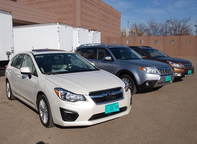 A lineup of 2012 Subarus