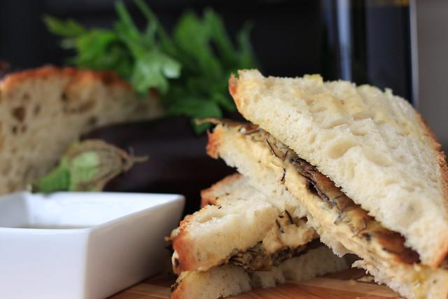 Roasted Eggplant and Hummus Sandwich