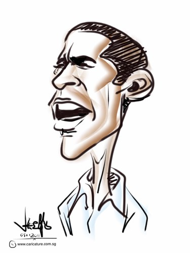 Barack Obama digital caricature on iPad2 Procreate