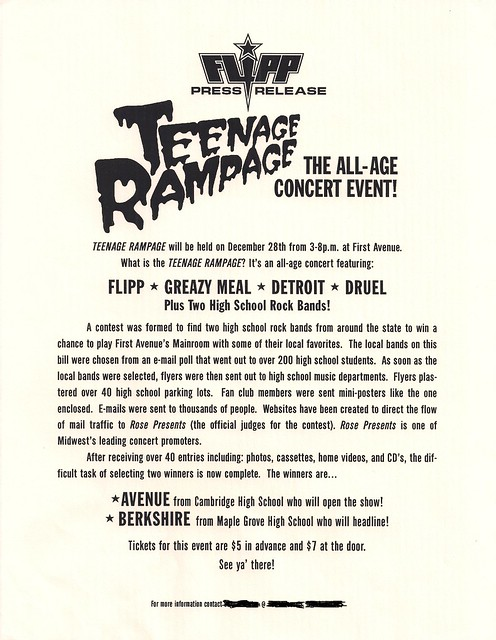 Teenage Rampage Press Release