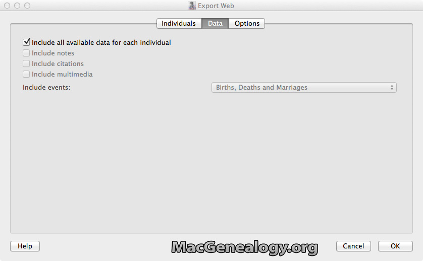 Mac Genealogy Software - GedScape  Exporting - Web Data