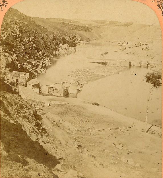 Molinos del Tajo. Fotografía estereoscópica de Jean Andrieu en 1868 con número de serie 2660