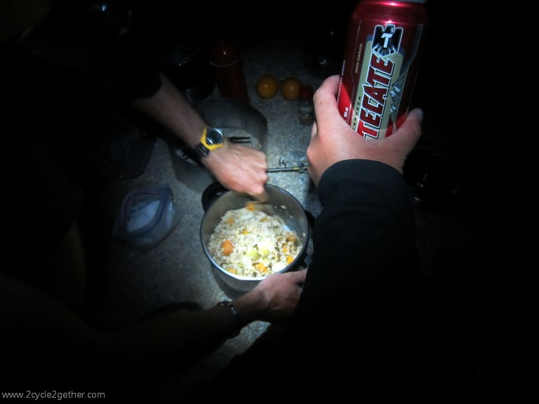 Dinner at wild camp.  Beer courtesy of last passing vehicle.
