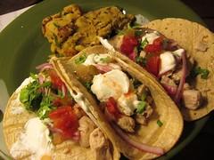 carnitas(0.0), vegetarian food(0.0), fajita(0.0), tostada(1.0), meal(1.0), salad(1.0), taco(1.0), food(1.0), dish(1.0), cuisine(1.0),