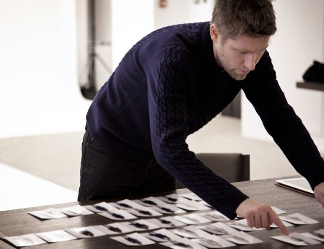 Christopher Bailey preparing for the Burberry Prorsum Autumn Winter 2012 Womenswerar Show in London