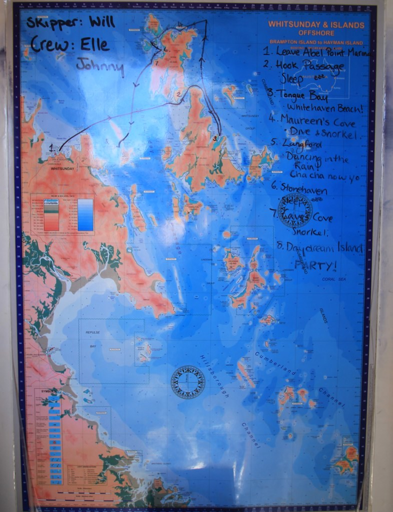 Sailing Map, Whitsundays, Australia