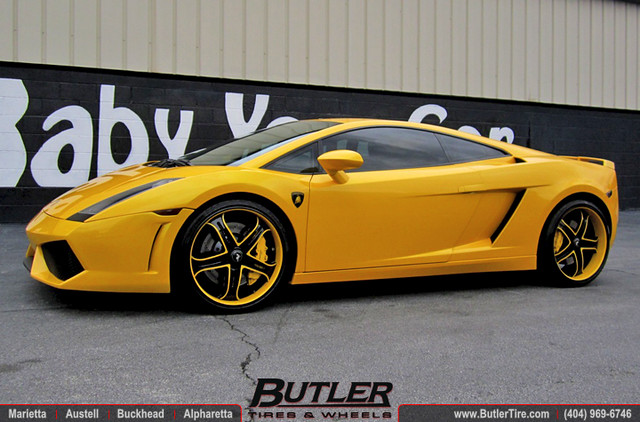 Lamborghini Gallardo with 20in Asanti AF167 Wheels and Hamman Rear Spoiler