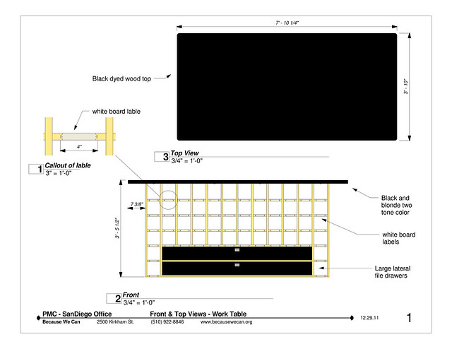 L:\BWC Bucket\projects\PMC_2011\SD_Office\Shop Drawings\Drawing_Storage_Work_Table - Sheet - 1 - Front & Top Views - Work Table