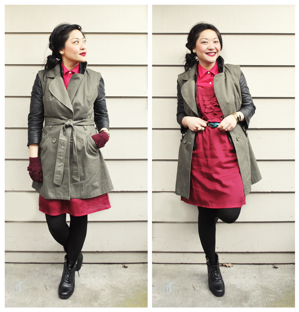 Anatomy of Clothes No. 7 - Winterize a Sleeveless Spring Dress + Monochromatic Layering - Pinks - Reds - Dress over Button Up - DIY Sleeveless Trench Layered Over Leather Moto Jacket