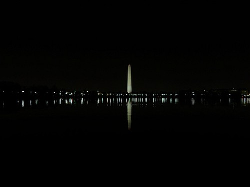 Washington Monument Reflection by Night