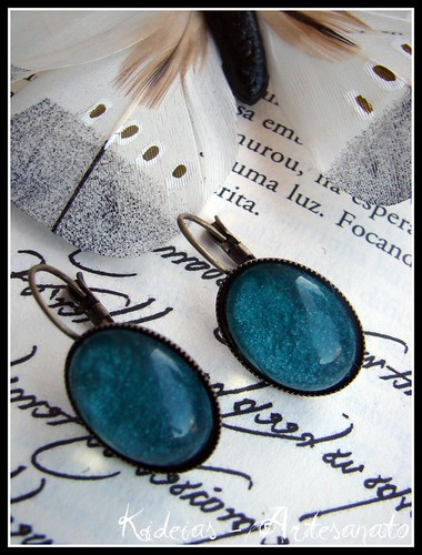 Brincos vintage azul esverdeado by kideias - Artesanato