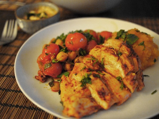 Moroccan inspired roasted chicken breasts with chickpeas and cherry tomatoes