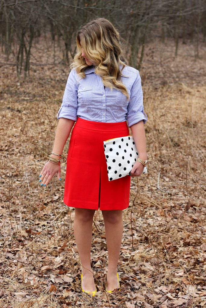 vertical striped blouse and red skirt work outfit