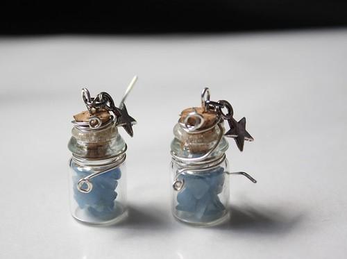 blue quartz bottle earrings