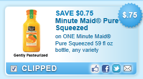 Minute Maid Pure Squeezed 59 fl oz bottle, any variety Coupon