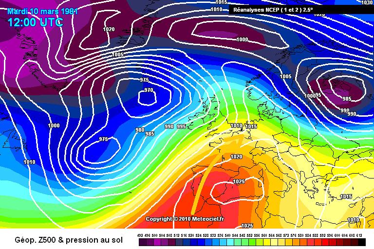 carte de situation des records de douceur des températures minimales sur la moitié Nord le 11 mars 1981 météopassion