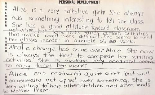 teacher comments first grade