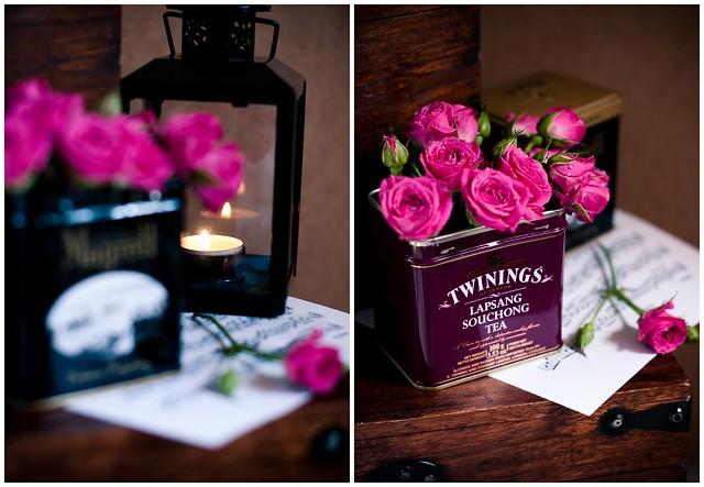 Цветочный декор с баночками от чая twinings