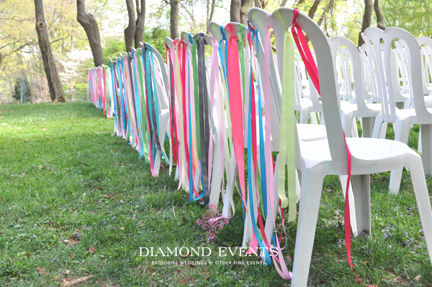 Ribbons on Ceremony Chairs at Woodend