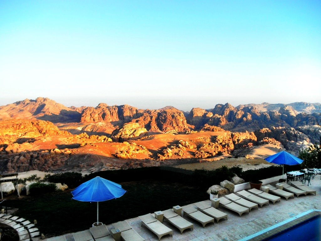 Pool overlooking Petra Mountains in Jordan