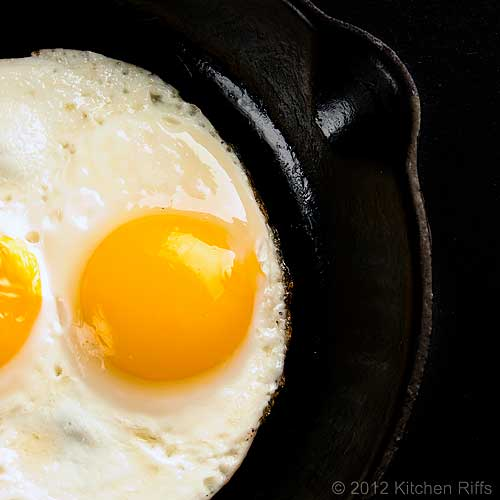 Fried Eggs in Pan, Overhead View
