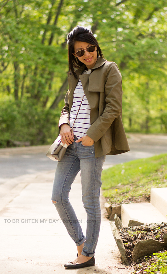 sage swing trench, striped top, light wash jeans