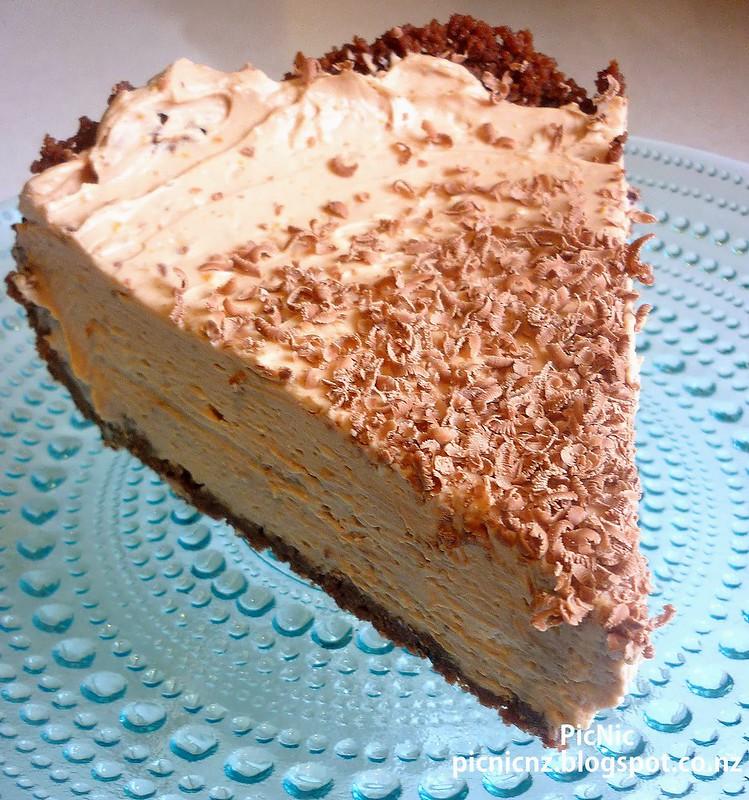 chocolate orange cheesecake slice front on