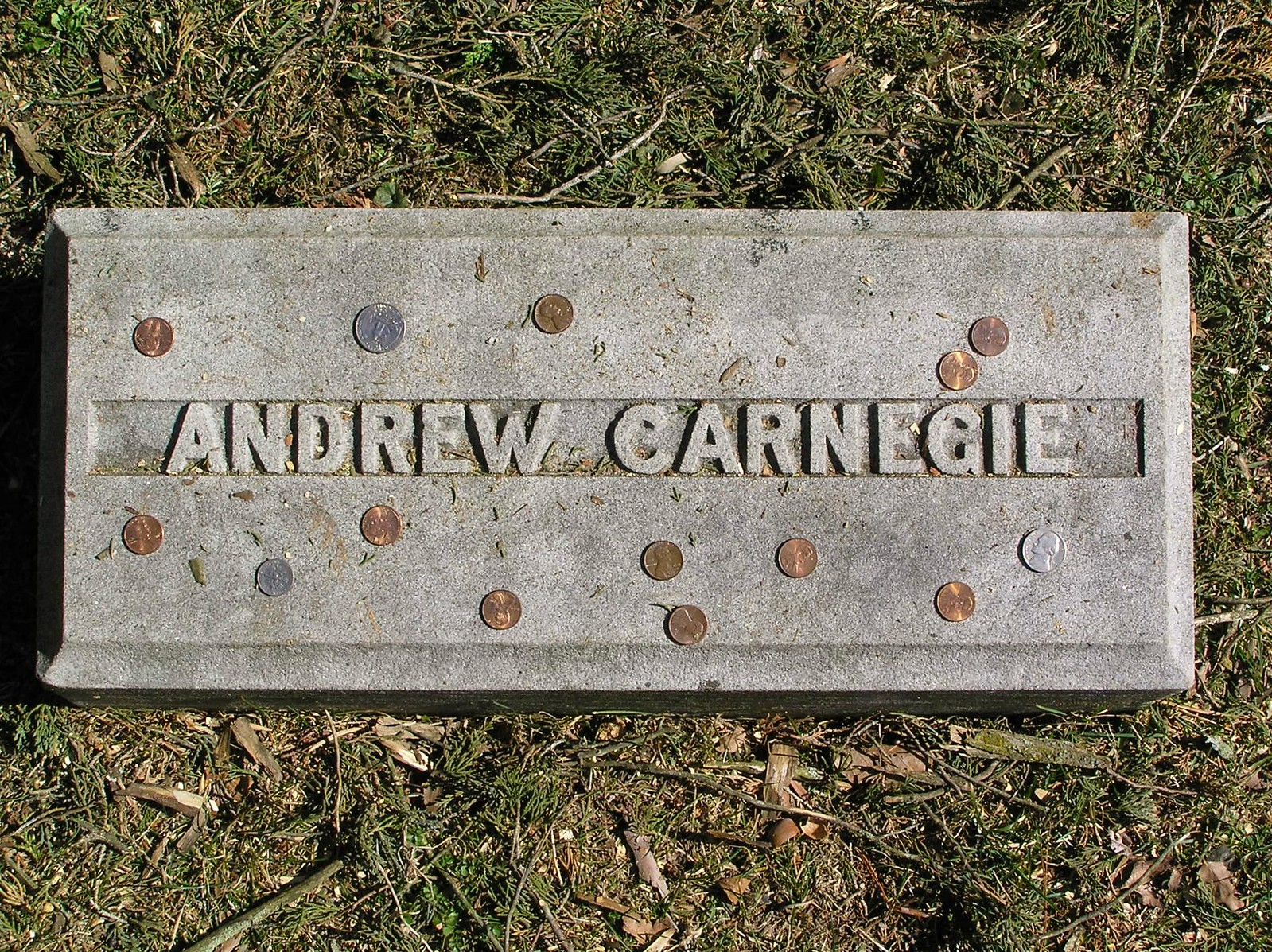 The footstone of Andrew Carnegie in Sleepy Hollow Cemetery. Credit Anthony22