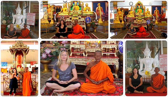 dani & jess with monk in sukothai thailand