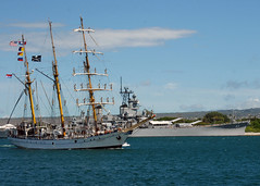 In the file photo, Indonesian naval training ship KRI Dewaruci passes the Battleship Missouri Memorial as she makes her way pier side to Naval Station Pearl Harbor in September 2007. (U.S. Navy photo by Mass Communication Specialist 3rd Class Michael A. Lantron)