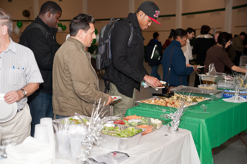 Students trying ethnic foods at the Multicultural Gala 2012