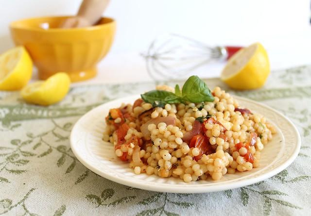 Israeli couscous greek salad