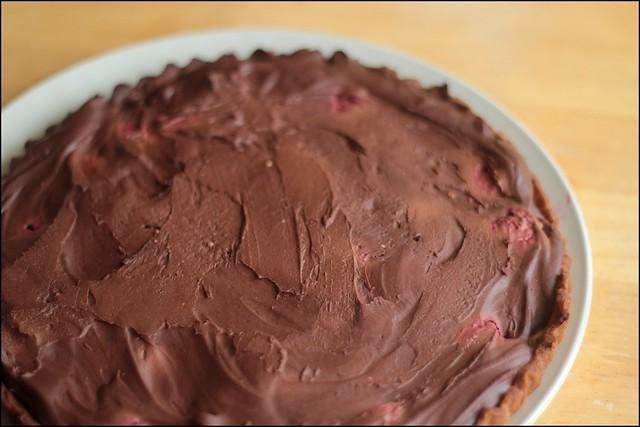 chocolate and rasberry tart