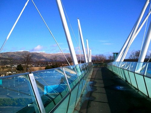 New foot bridge in Stirling looking toward Ochil Hills