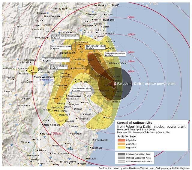 福島第一核電廠輻射擴散示意圖(Biotope Garden提供)