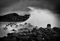 [フリー画像素材] 自然風景, ビーチ・海岸, 波, モノクロ ID:201203190600