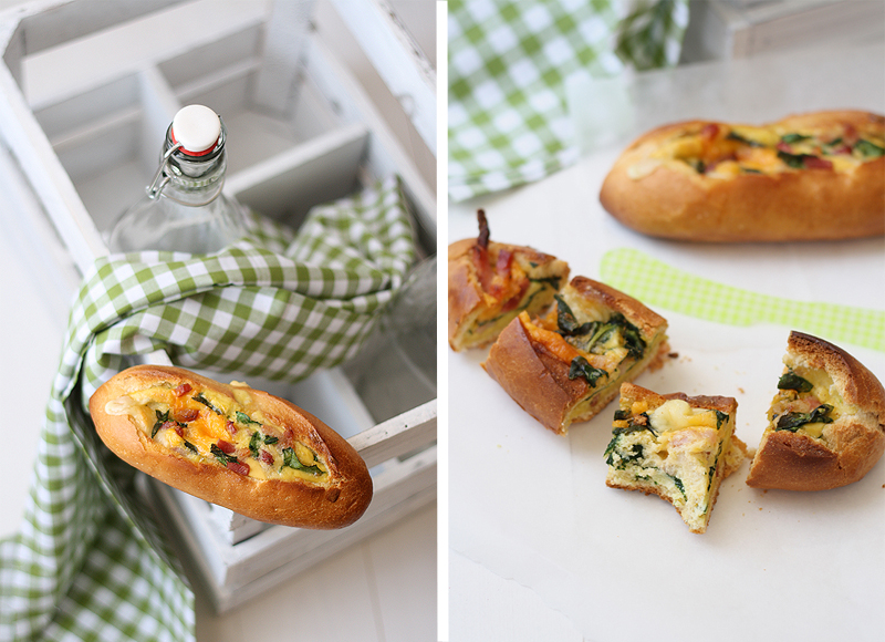 stuffed bread summary bread stuffed with baked eggs cheese bacon and ...
