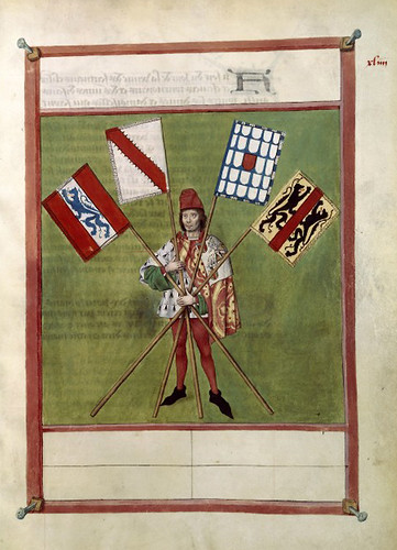 015-Le libre des tournois…1460- René d' Anjou--Français 2692, fol. 44-cartel de los jueces narradores