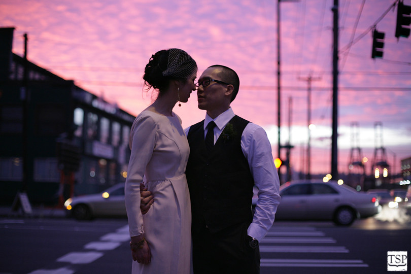 Bride and Groom in Seattle Sunset