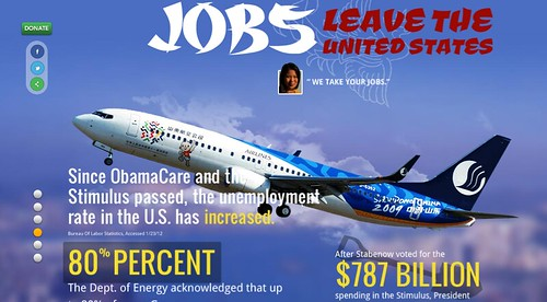 A screenshot from the website reading 'Jobs leave the United States' written in the same font, with a picture of a Chinese airplane in the background. The text 'We take your jobs' is next to a picture of the woman from the ad, and statistics and quotes about the economy and spending are beneath it.