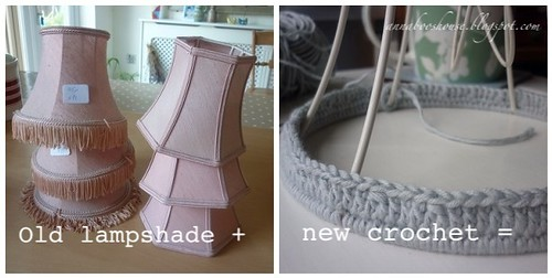 Crochet lampshade makeover