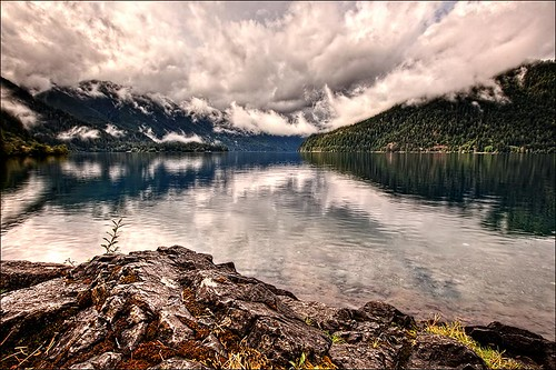 usa lake clouds canon day cloudy pacificnorthwest wa olympicnationalpark hdr wasington crescentlake photomatix 5dmk2