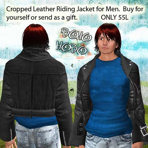 BoHo HoBo Men's Leather Biker's Jacket, 55L, Give as a gift! by Cherokeeh Asteria