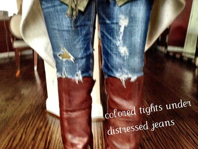What I Wore: Distressed Jeans With Colored Tights Outfit - Charmed ...