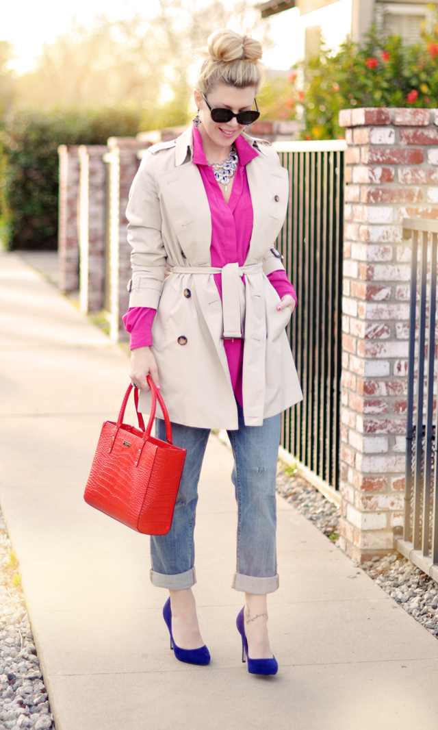 Mixing Brights - red and pink - trench coat