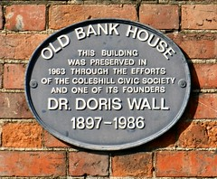 Photo of Doris Wall and Old Bank House black plaque