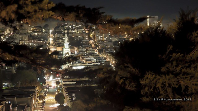 View from Telegraph Hill Neighborhood  at Night