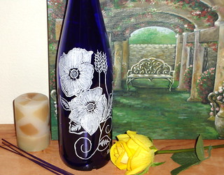 Hand etched Blue Wine bottle Incense burner- Blue Skies and Poppies