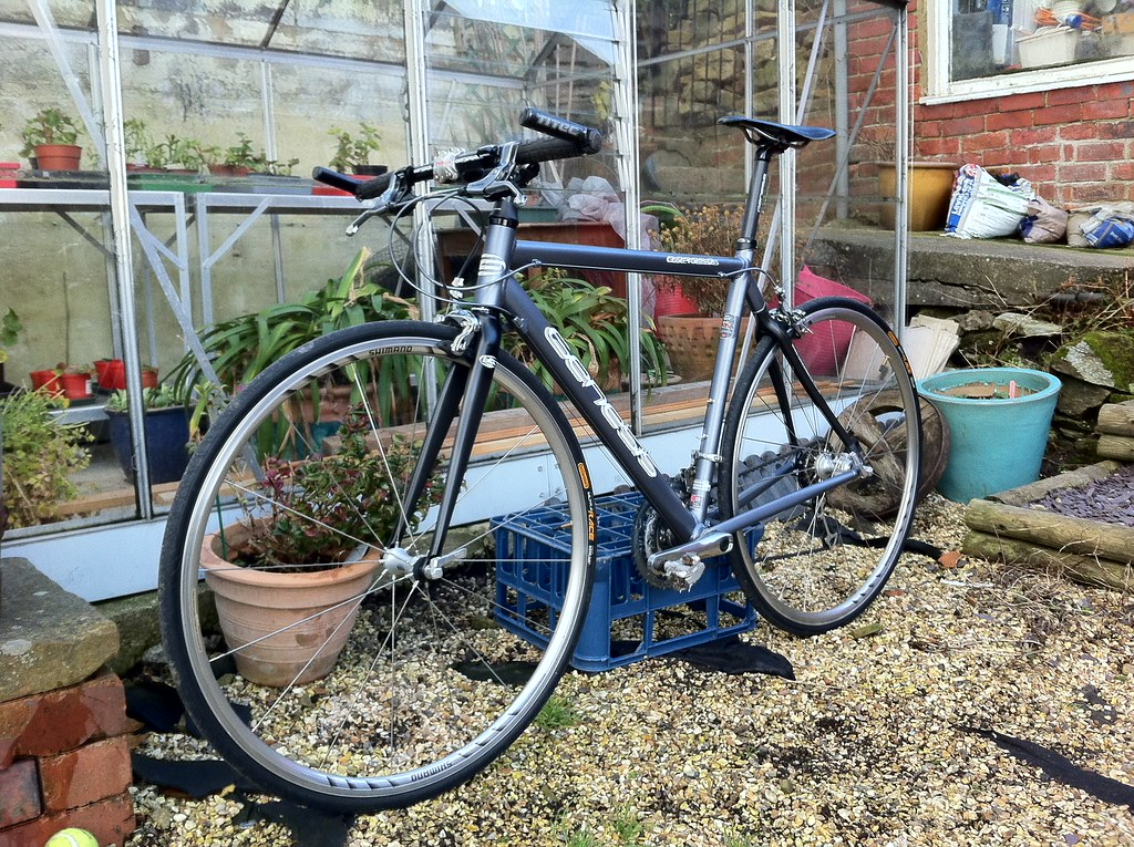 Road bike with flat bars and bar-ends or drop bars ...
