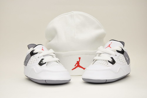 Air Jordan Retro 4 White/Tech Grey toddlers